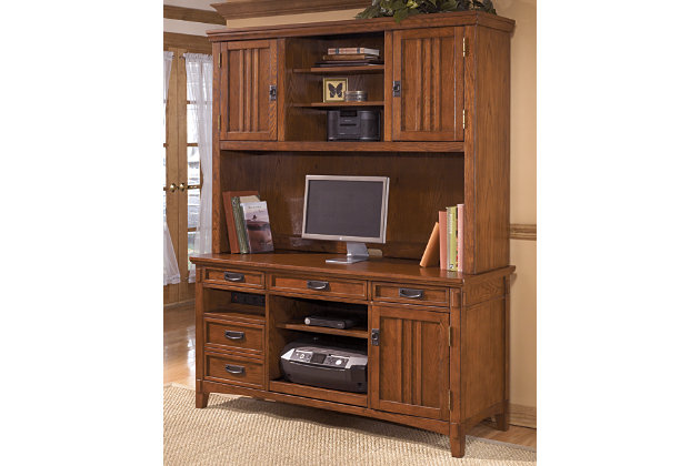 High Quality Medium Brown Cross Island 2 Piece Home Office Large Credenza With Large  Hutch View 1