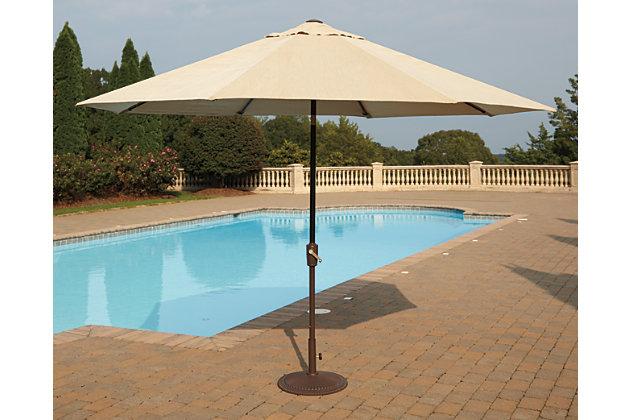 Beige/Dark Brown Umbrella Accessories Patio Umbrella View 3