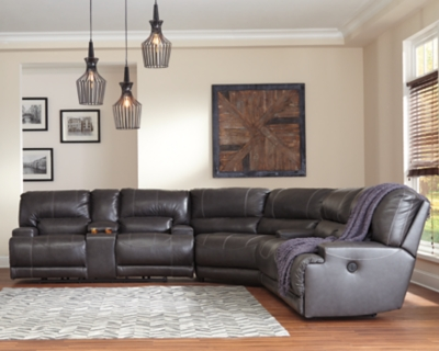 Sectional Power Gray Leather Piece Product Photo 10