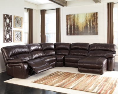 Sectional Power Dark Brown Leather Piece Product Photo 43