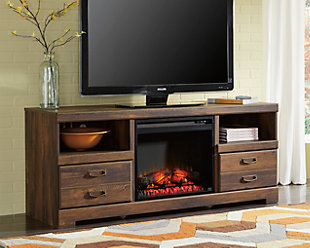 Large Quinden 64 Tv Stand With Fireplace Rollover