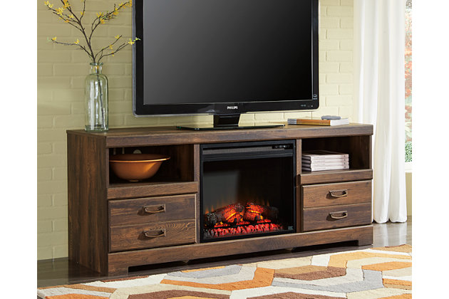 Quinden Tv Stand w/Fireplace by Ashley HomeStore, Brown