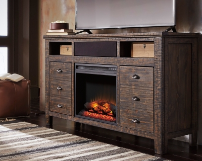 """Trudell 62"""" TV Stand with Fireplace and Wireless Pairing Speaker, , large"""