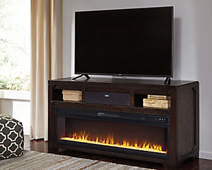 "Rogness 63"" TV Stand with Fireplace & Wireless Pairing Speaker, , rollover"