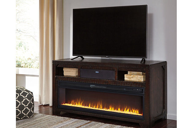 "Rogness 63"" TV Stand with Fireplace & Wireless Pairing Speaker, , large"