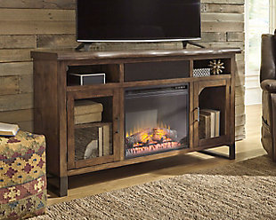"Esmarina 62"" TV Stand with Fireplace & Wireless Pairing Speaker, , rollover"