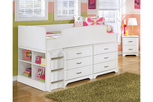Lulu Twin Loft Bed With 6 Drawer Storage Ashley