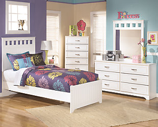 Lulu Twin Panel Bed with Mirrored Dresser, , rollover