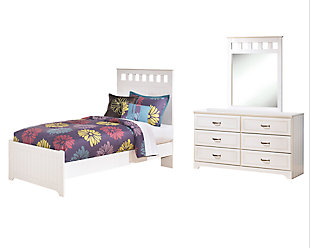 Lulu Twin Panel Bed with Mirrored Dresser, , large