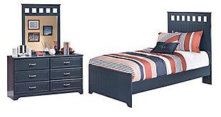 Leo 5-Piece Twin Panel Bedroom, Blue, large