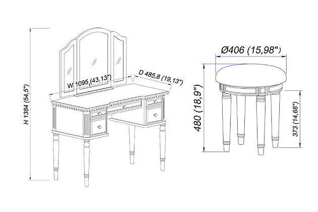 5 Drawer Vanity Set with Stool, , large
