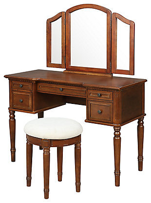 5 Drawer Vanity Set with Stool, , large