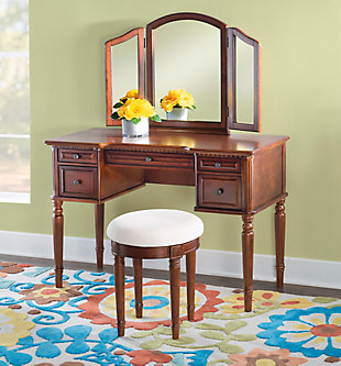 5 Drawer Vanity Set with Stool, , rollover