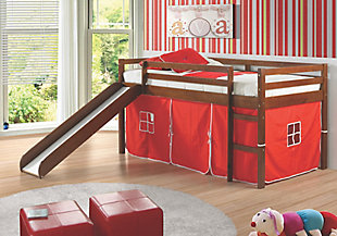 Twin Low Loft Tent Bed with Slide, Red, rollover