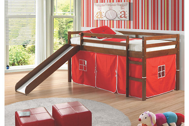 Twin Low Loft Tent Bed with Slide, Red, large