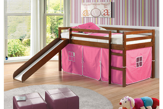 Kids Twin Low Loft Tent Bed with Slide, Pink, large