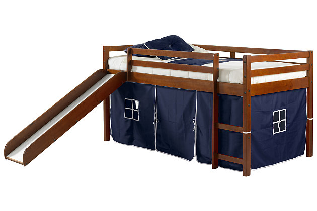 Kids Twin Low Loft Tent Bed with Slide, Blue, large