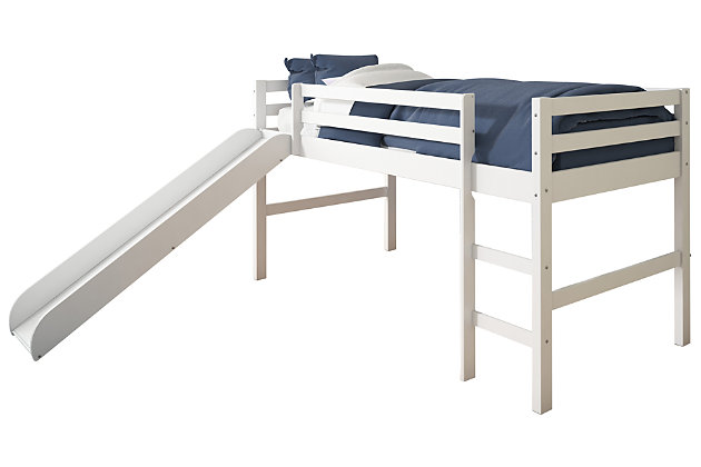 Kids Twin Low Loft Bed with Slide, , large
