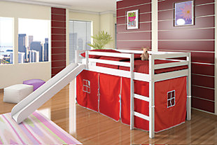 Kids Twin Low Loft Tent Bed with Slide, Red, large