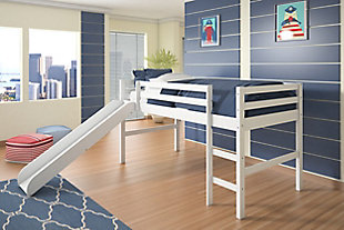 Kids Twin Low Loft Bed with Slide, , rollover