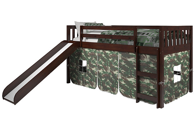 Kids Twin Low Loft Tent Bed with Slide, Camo, large