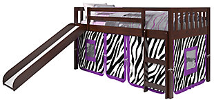 Kids Twin Low Loft Tent Bed with Slide, Zebra, large