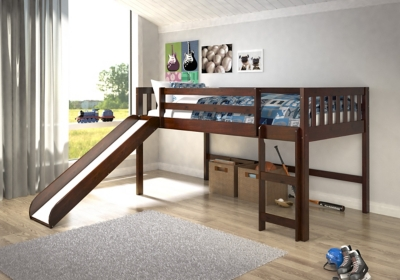 Image of: Kids Twin Low Loft Bed With Slide Ashley Furniture Homestore