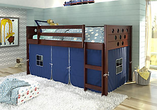 Kids Twin Low Loft Bed with Tent, Blue, large