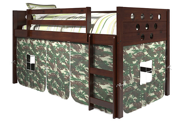Kids Twin Low Loft Bed with Tent, Camo, large
