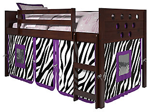 Kids Twin Low Loft Bed with Tent, Zebra, large