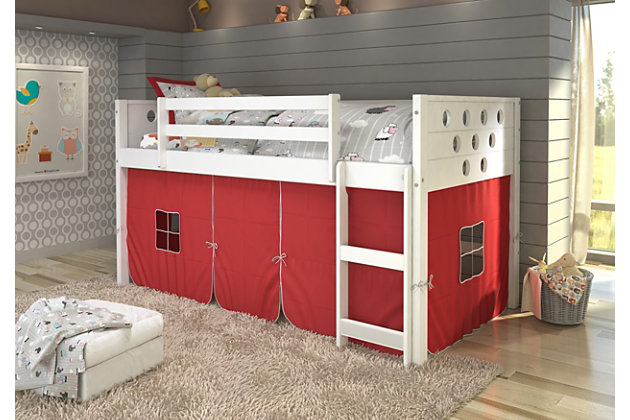 Kids Twin Low Loft Bed with Tent, Red, large