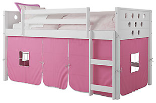 Kids Twin Low Loft Bed with Tent, Pink, large