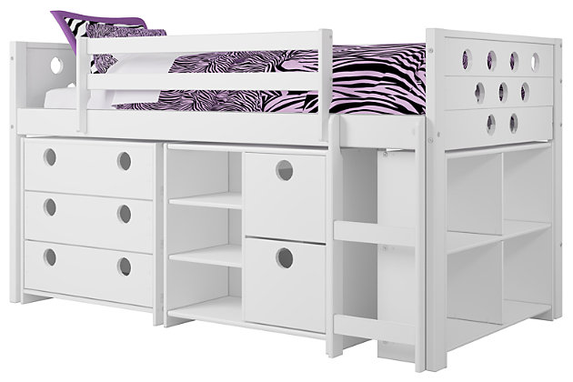 Kids Circles Twin Low Loft Bed Set, , large
