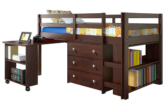 Kids Twin Low Loft Study Set, Cappuccino, large