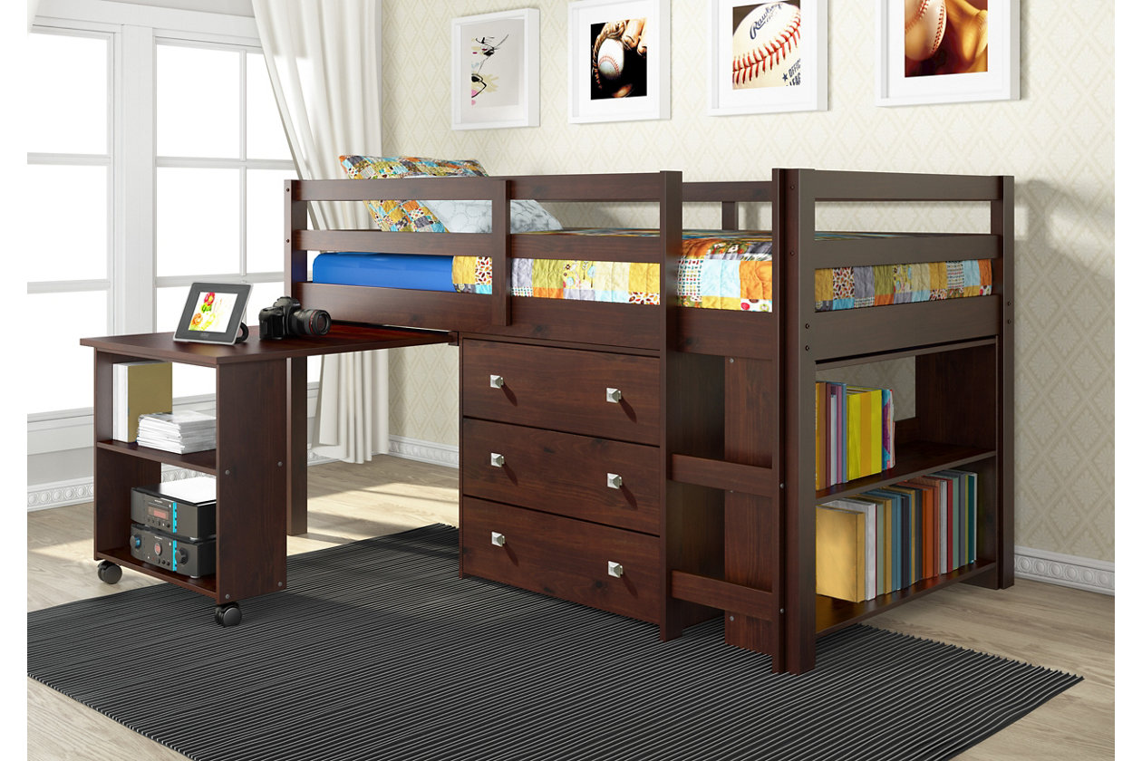 Donco Kids Twin Low Loft Study Set