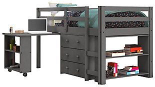 Kids Twin Low Loft Study Set, Antique Gray, large
