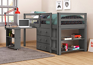 Kids Twin Low Loft Study Set, Antique Gray, rollover