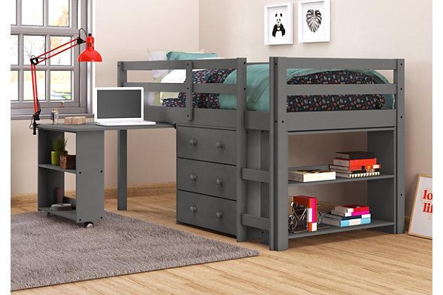 Kids Twin Low Loft Study Set, Antique Gray, large