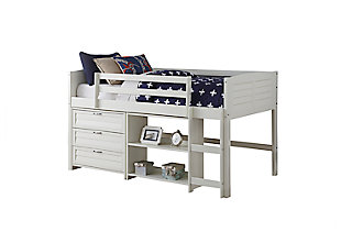 Kids Louvered Twin Low Loft Bed with 3 Drawer Chest and Bookcase., , large