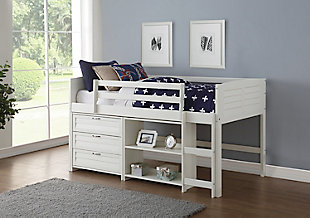 Kids Louvered Twin Low Loft Bed with 3 Drawer Chest and Bookcase., , rollover