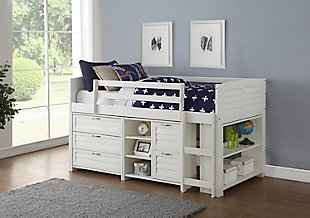 Kids Louvered Twin Low Loft Bed with 3 Drawer Chest, 2 Drawer Chest and Bookcase., , rollover