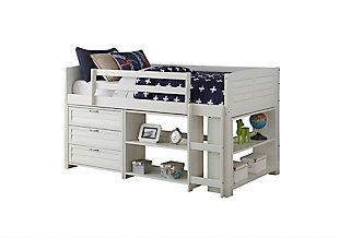 Kids Louvered Twin Low Loft Bed with 3 Drawer Chest, Bookcase and Small Bookcase, , large