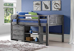 Kids Louvered Twin Low Loft Bed with 3 Drawer Chest and Small Bookcase., , rollover