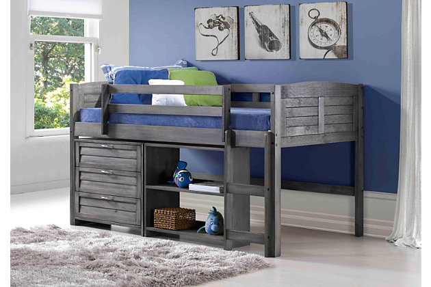 Kids Louvered Twin Low Loft Bed with 3 Drawer Chest and Small Bookcase., , large