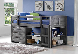 Kids Louvered Twin Low Loft Bed with 3 Drawer Chest, Bookcase and Small Bookcase., , rollover