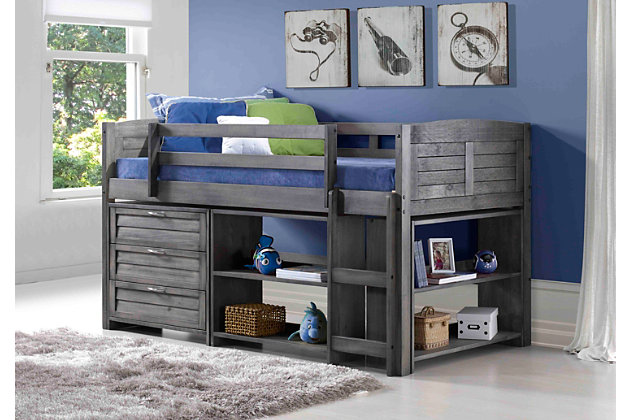 Kids Louvered Twin Low Loft Bed with 3 Drawer Chest, Bookcase and Small Bookcase., , large