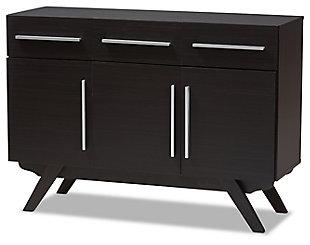 Mid Century Modern 3-Drawer Dining Server, Espresso, large