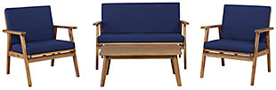 Linon Blue Outdoor Chat Set, , large