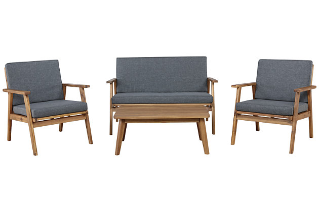 Linon Gray Outdoor Chat Set, , large
