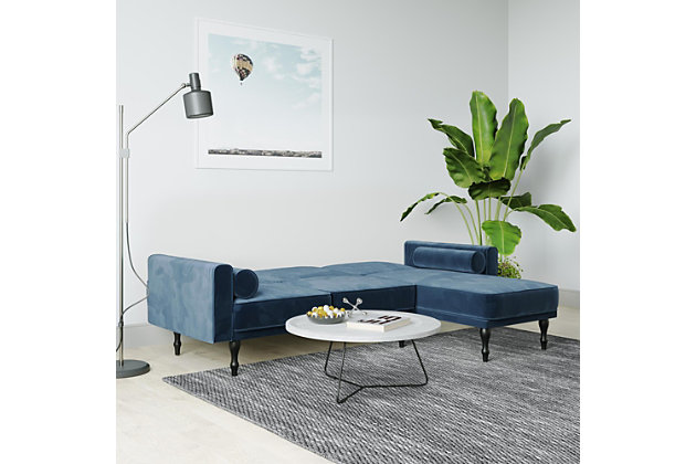 Atwater Living Edison Small Space Sectional Futon, Blue, large